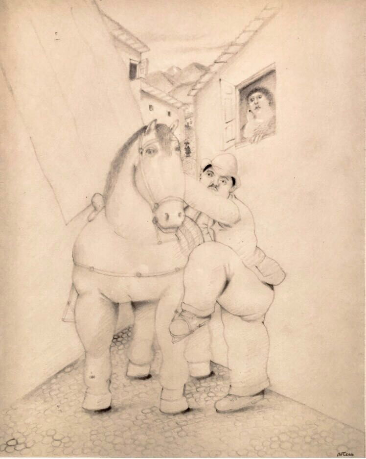 Homme et cheval  ,1980 -1985  Grafito sobre papel  43 x 35 cm   SOLD