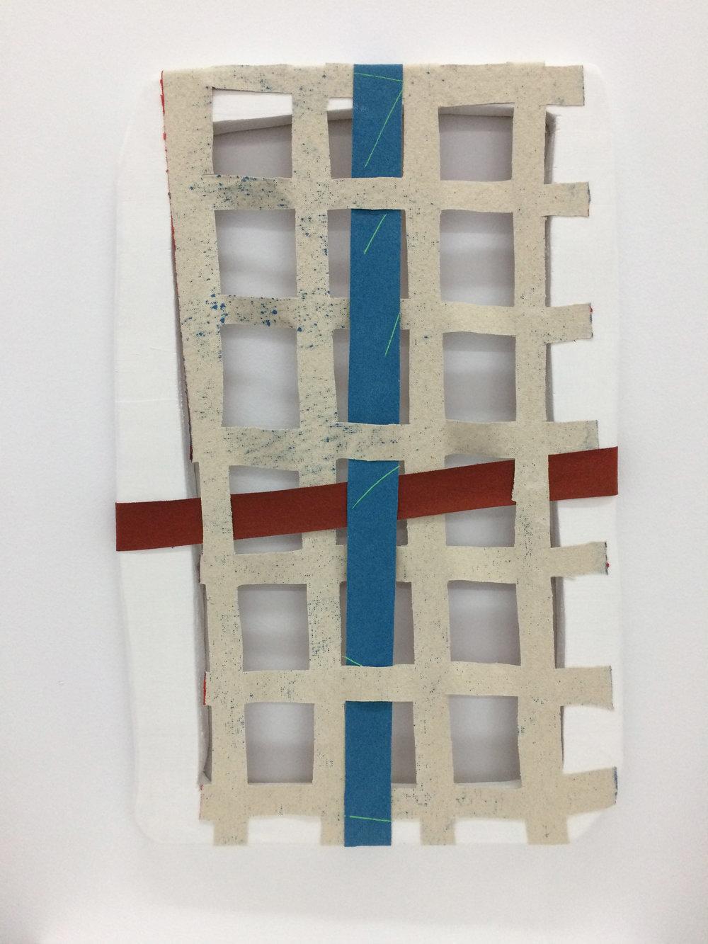 Anverso, reverso y un cruce  , 2017  Acrílico, lienzo y madera  39 x 59 cm