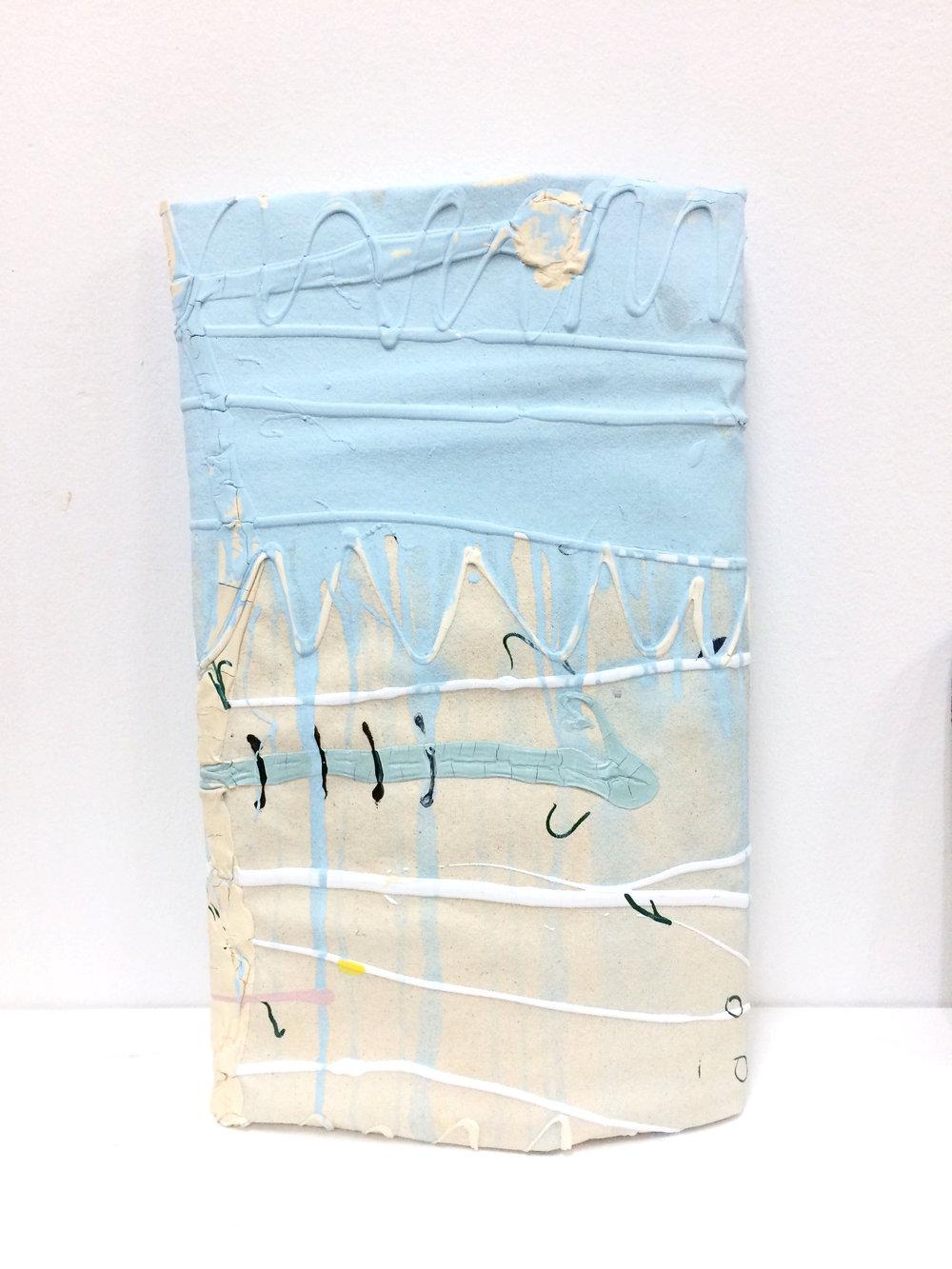 Azul en caída  , 2017  Acrílico, lienzo y madera  34 x 56 cm