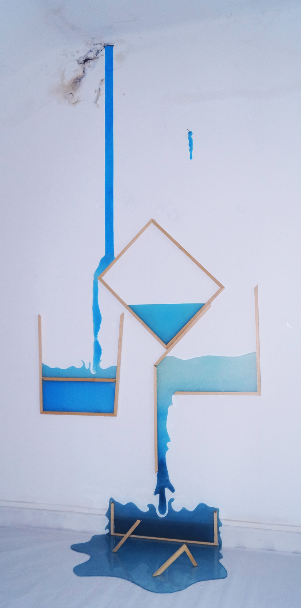 Incontenibles   ,  2016  Methacrylate, resin, pigments, wooden frames and screws  250 x 150 x 50 cm