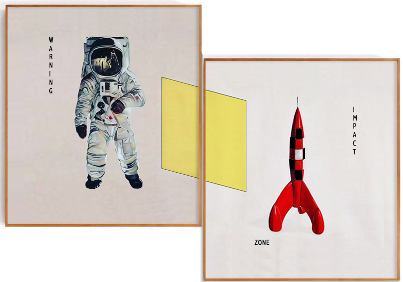 Astronauta y cohete ,  2017  Diptych oil on canvas  39.37 x 78.5 cm
