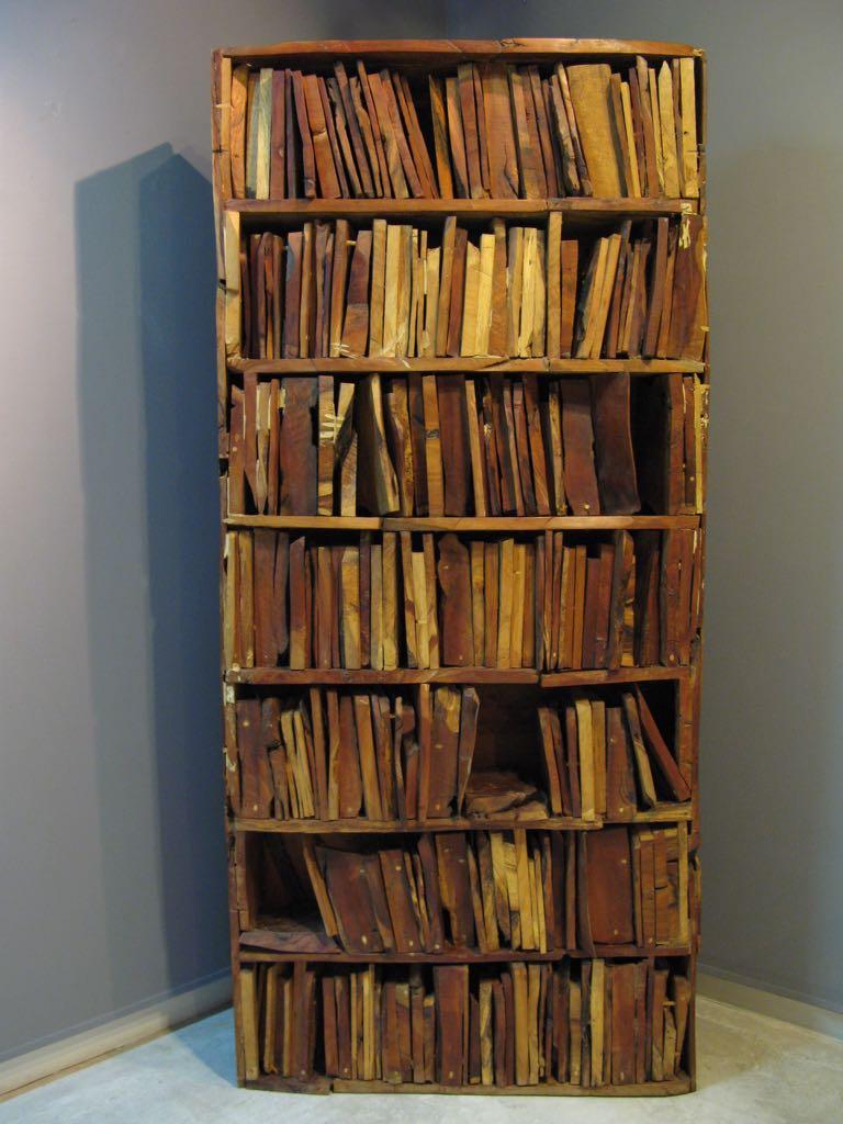 Libros  , 1993  Libreria en madera de olivo y pino  187 x 87 x 22 cm   SOLD