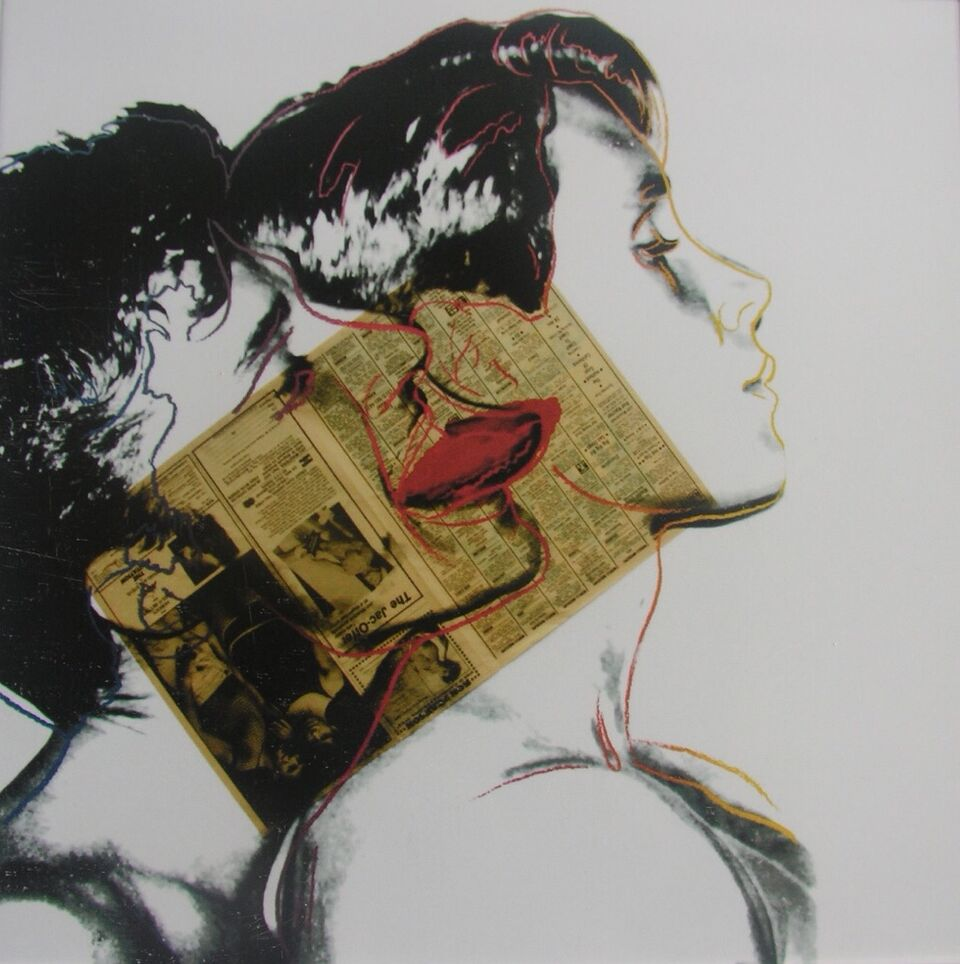 Andy Warhol    Querelle,  1982  Tinta, collage de papel de periódico y serigrafía sobre cartulina Lenox Museum  Ink, newspaper collage and serigraphy on cardboard Lenox Museum  100 x 100 cm  Procedencia: The Andy Warhol Foundation for the Visual Arts, Inc., New York.
