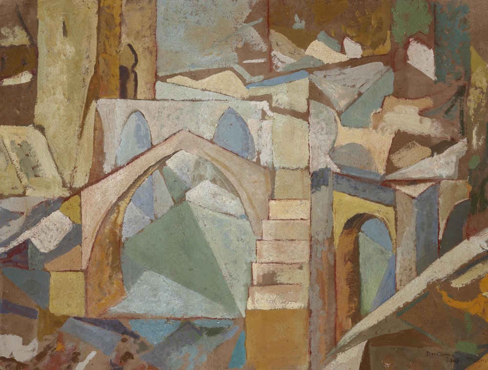 Diego Rivera    Puente de Toledo , 1913  Oil on board  48 × 63.2 cm  Signed and dated lower left