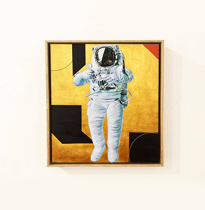 Sin título  , 2017  Oro, óleo sobre lienzo  66 x 69 cm