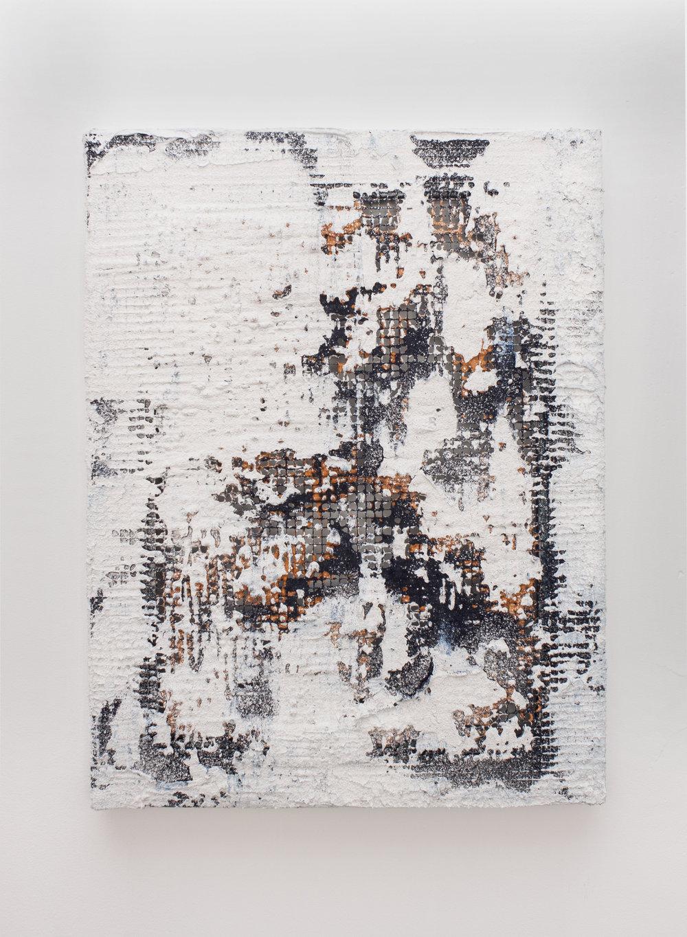 Untitled ,2018  Mixed media on metal mesh  50 x 38 cm