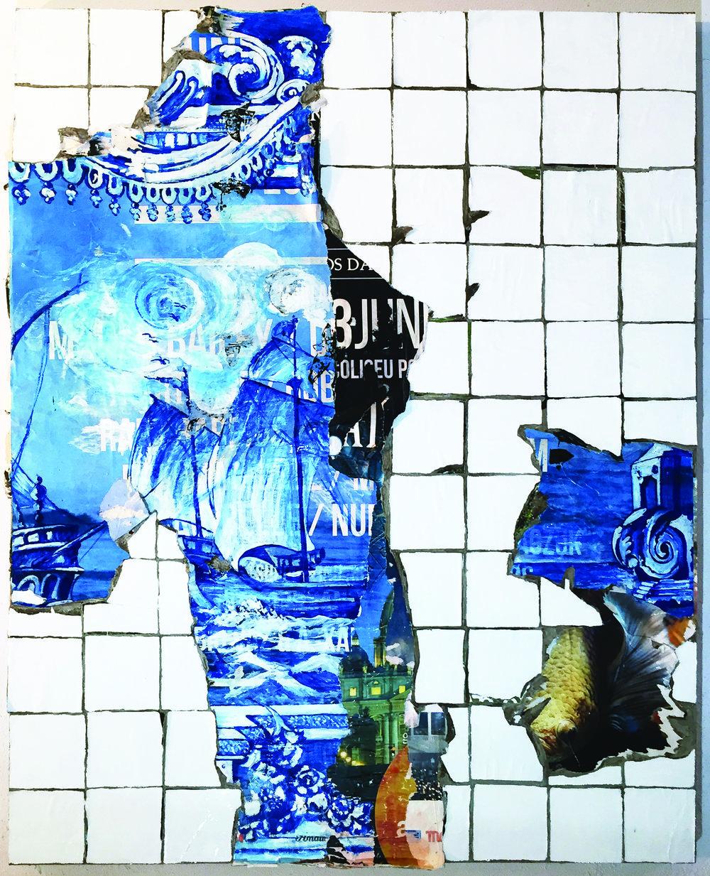 Manuela Pimentel    Tanto Mar , 2018  Póster y acrílico sobre azulejo en lienzo.  150 x 120 cm