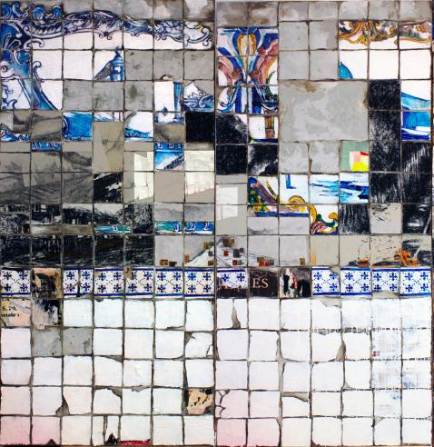 Manuela Pimentel    Pouca Terra , Pouca TUA. 2018  Póster y acrílico sobre azulejo en lienzo.  215 x 100 cm + 215 x 100 cm.