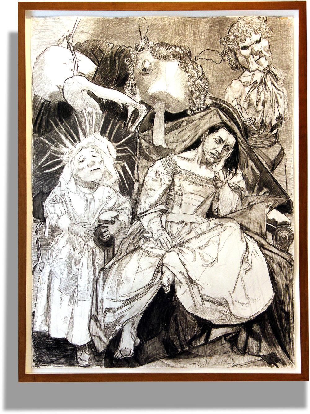 Paula Rego    Sin título , 2008  Lápiz sobre papel  140 x 104 cm