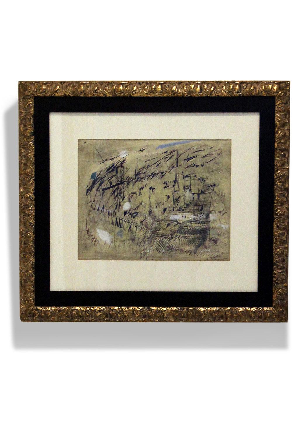 Le Vent  , 1950  Gouache & pen on paper  54,4 x 43,2 cm