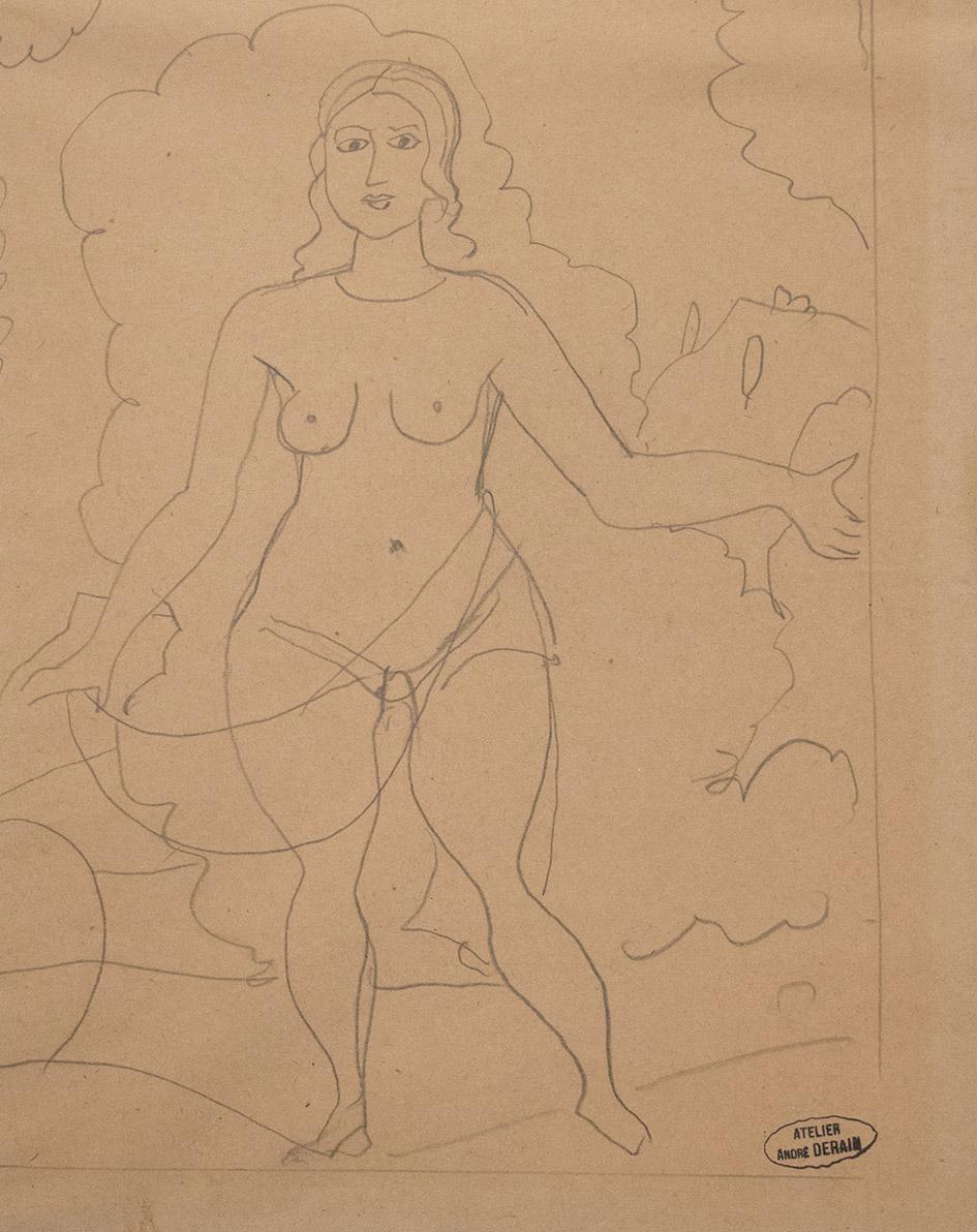 André Derain      Nu Debout      Circa 1907      Mina de plomo sobre papel      20 x 20 cm