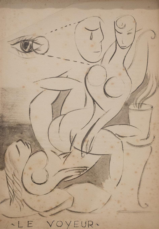 Circa  1920  Le voyeur  1920  Ink on paper  28,75 x 20, 25 cm