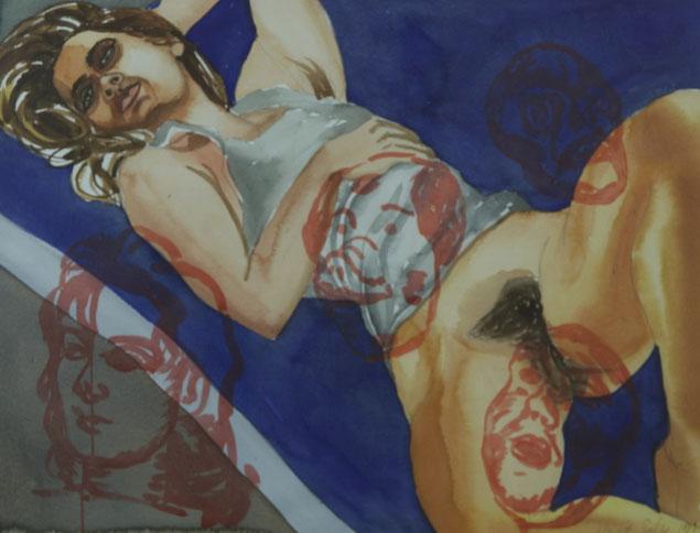 David Salle  Sin título  1989  Acuarela sobre papel  45,5 x 60,5 cm