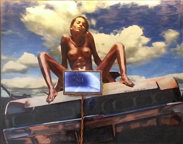 Marck  TrafficB18  2015  LCD panel, oil on canvas, plexiglass  36,5 x 68,5 cm