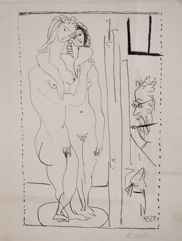 Pablo Picasso  Les deux modeles nudes  1954  Litografía  65 x 50 cm