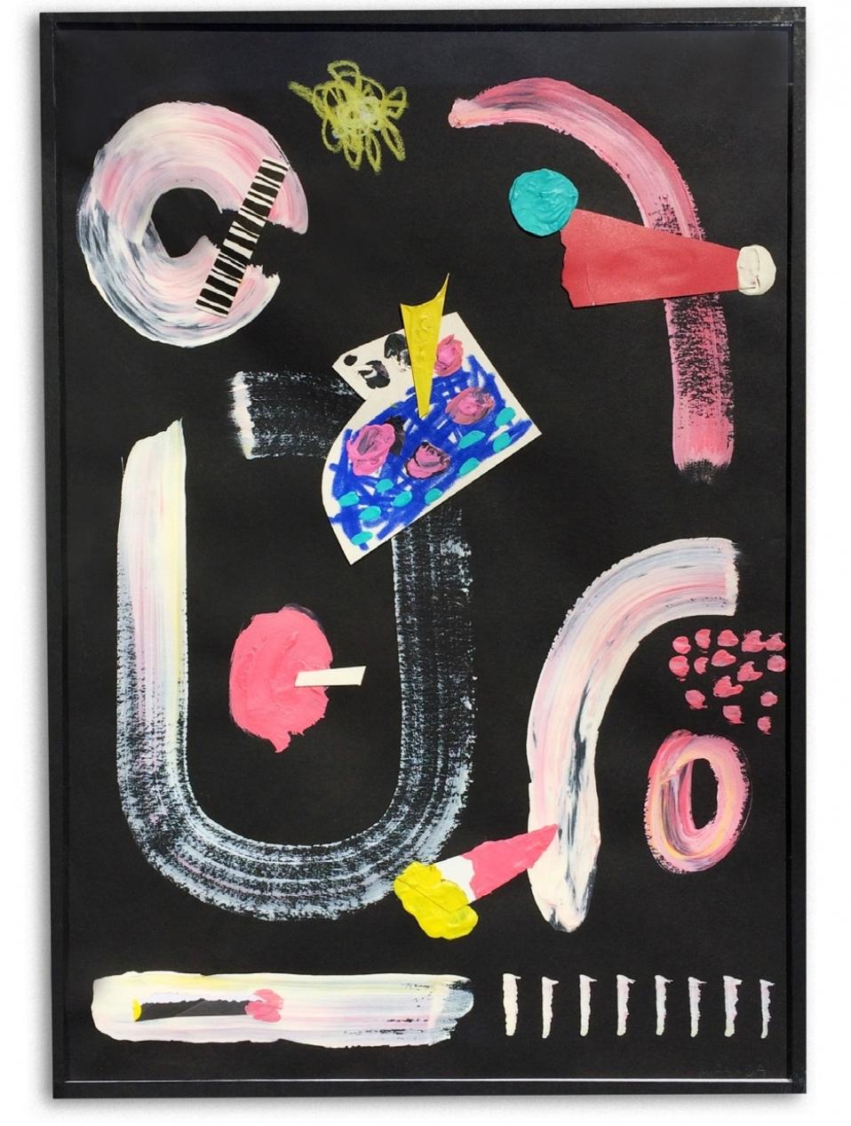 Melón  Acrílico y collage en papel  30 x 42 cm
