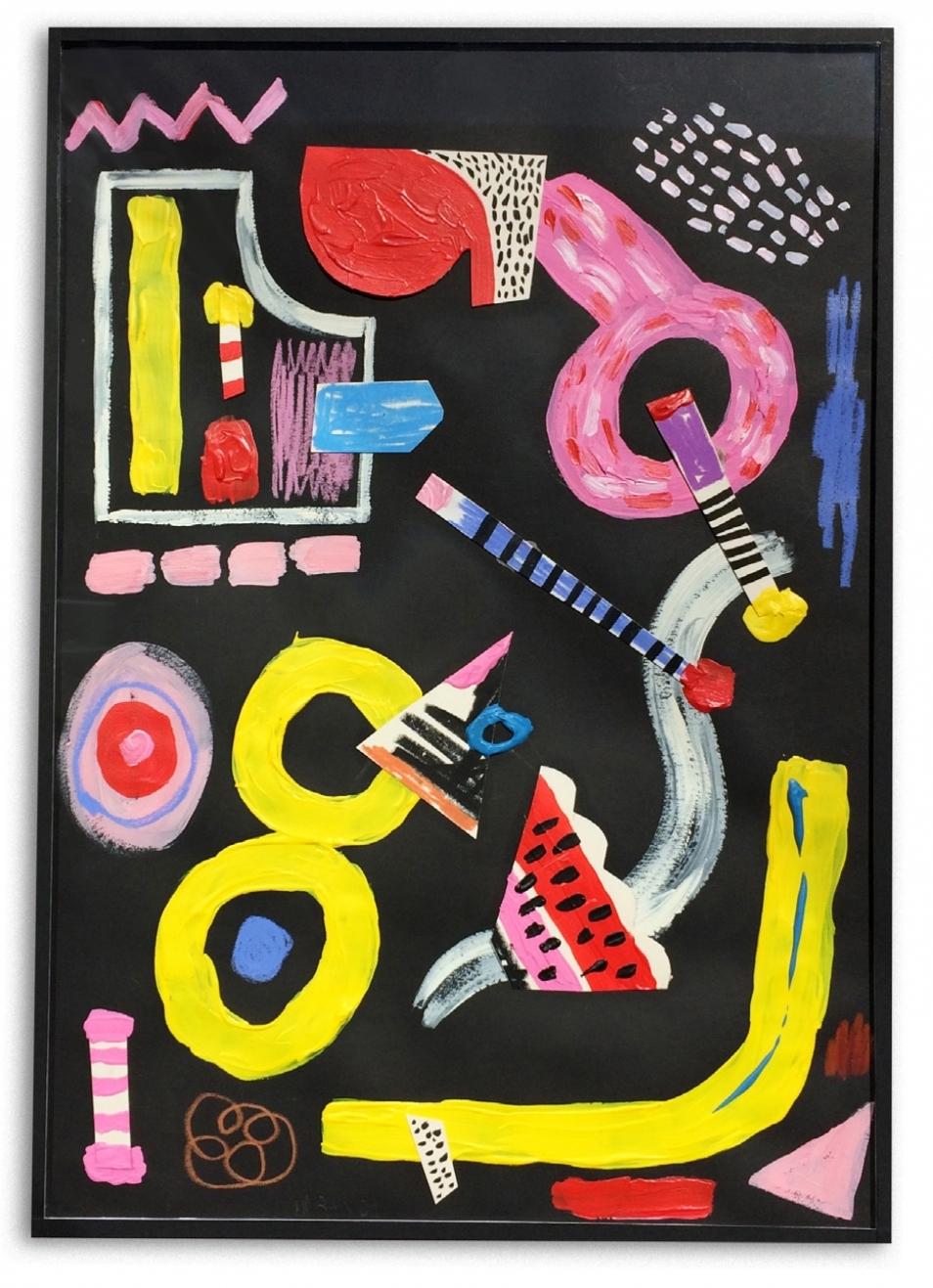 Sandía  Acrílico y collage en papel  30 x 42 cm