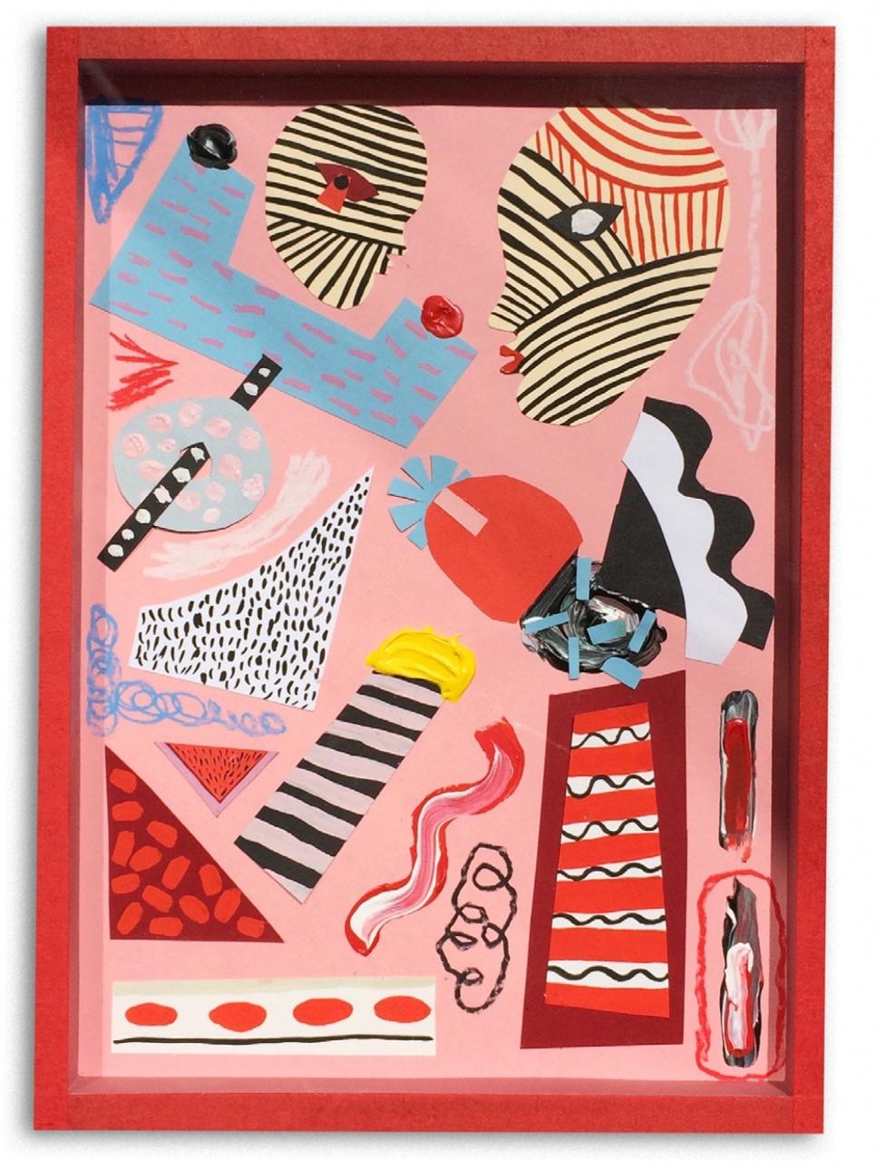 Geometría sexual  Acrílico y collage en papel  31 x 22 cm