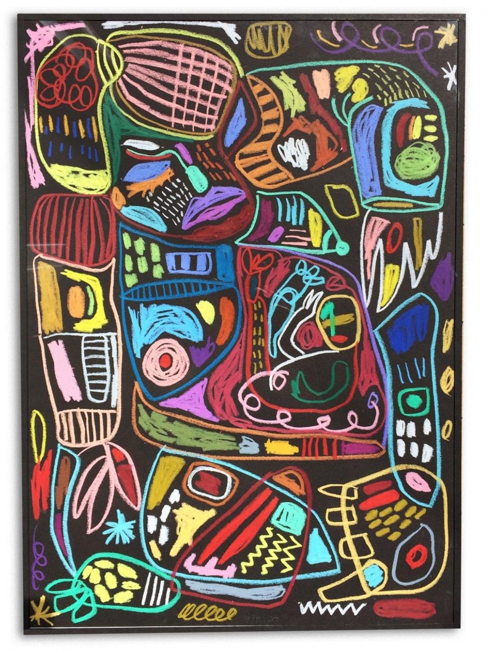 Issues  Crayones de cera sobre papel  43 x 30 cm