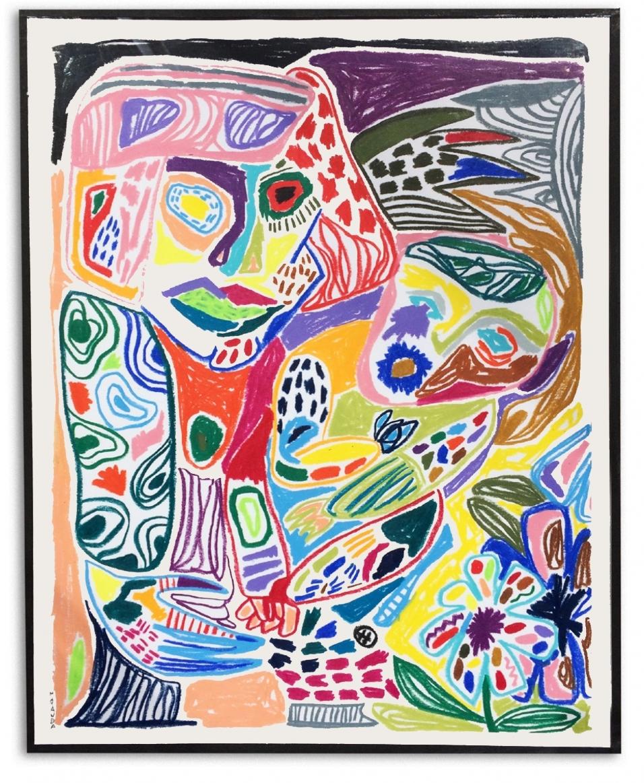 LSD family  Crayones de cera sobre papel  30 x 37 cm