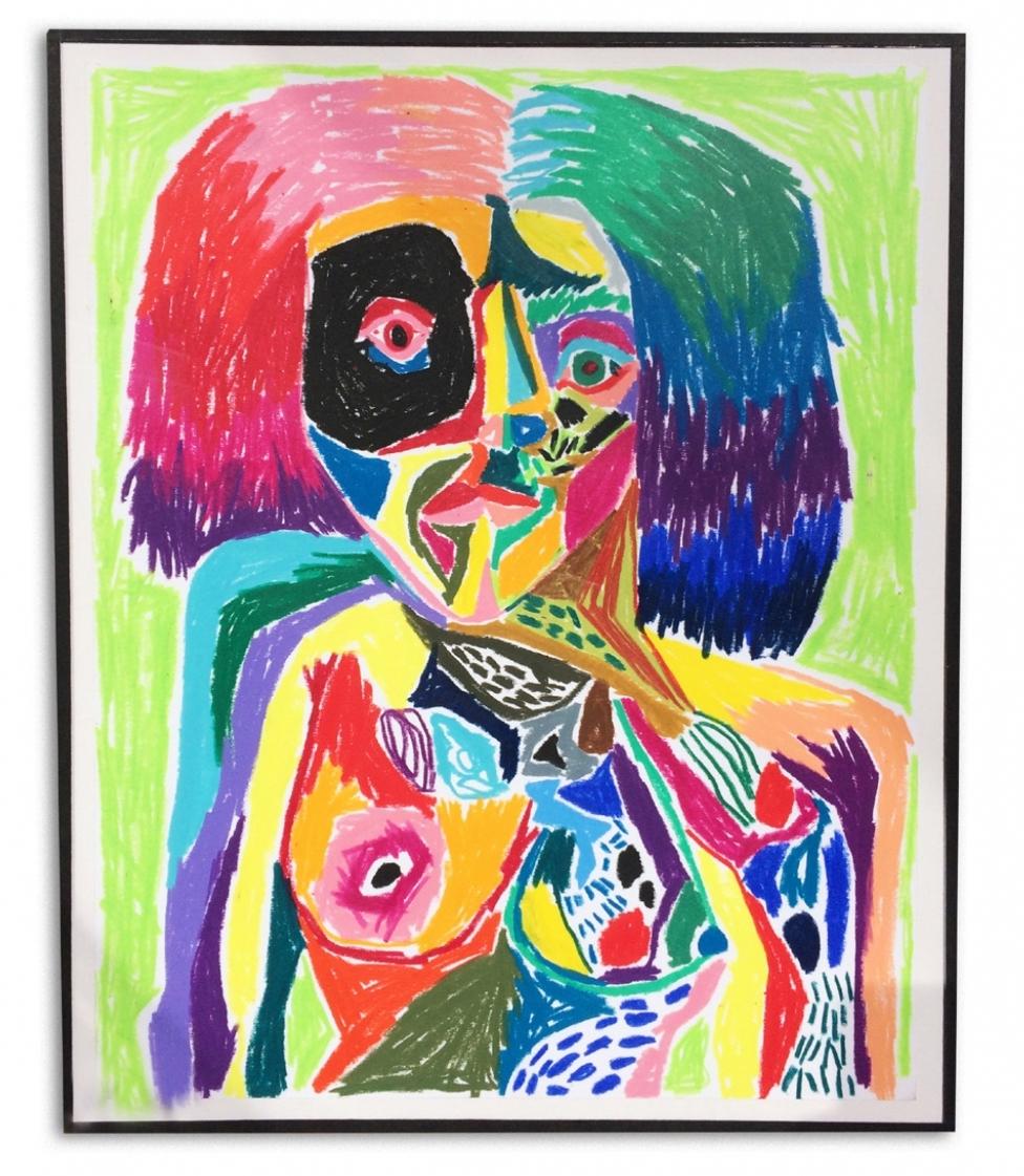 Autorretrato de la pochez  Crayons on paper  30 x 37 cm