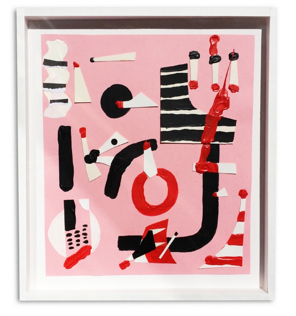 Pink Orgy  Acrylic and collage on paper  23 x 33 cm