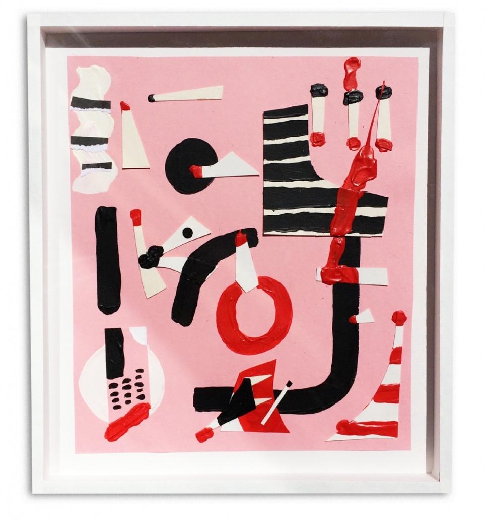 Pink Orgy  Acrílico y collage en papel  23 x 33 cm