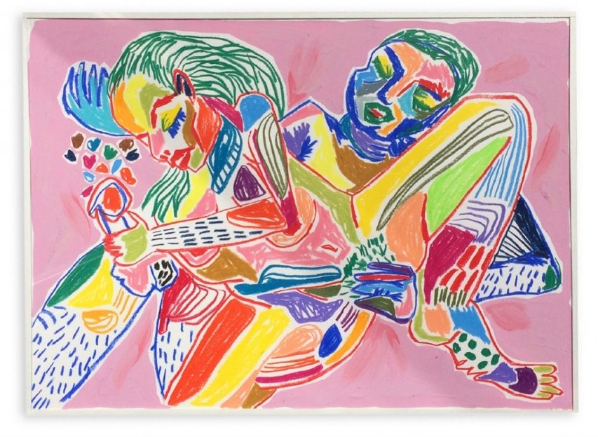 Love  Crayones de cera sobre papel  45 x 33 cm