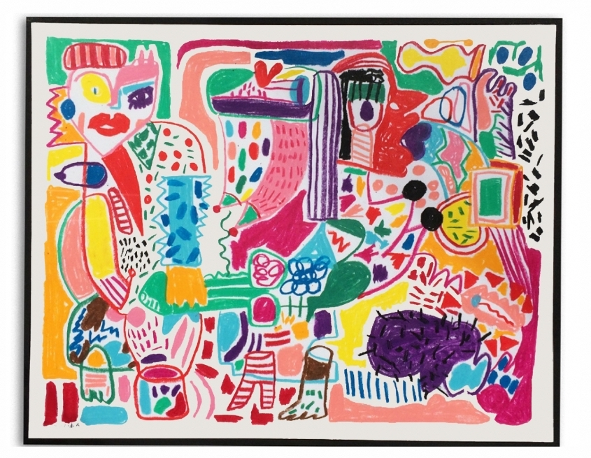 La movida  Crayones de cera sobre papel  38 x 30 cm