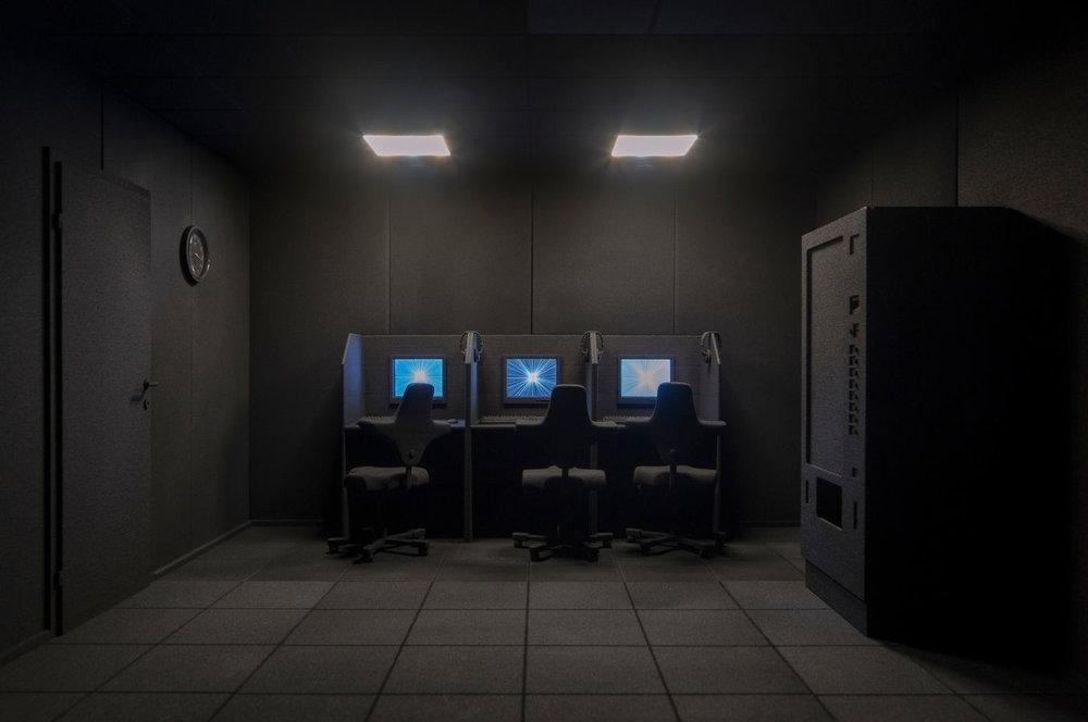 I looked around the Internet, 2018  Nylon, lámpara led, mdf, eléctrica, pantalla LCD display, animación gif  35 x 45 x 50 cm