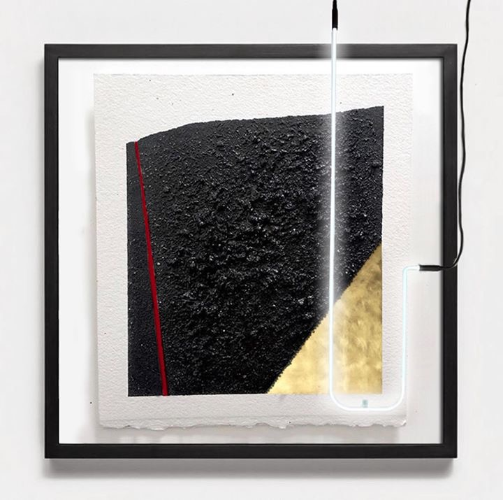 Untitled, 2018  Zone 0 series  Volcanic sand on cotton paper, Ink, neon lighting, gold sheet  55.88  x  45.72 cm
