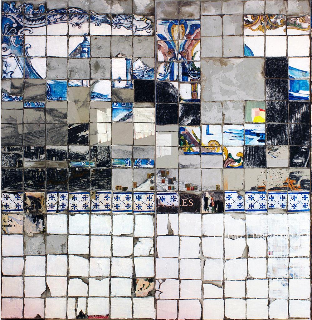 Pouca Terra I, Pouco Tua II,  2015 (x2)    Acrílico, cemento y barniz, madera contrachapada en panel     215 x 100 cm