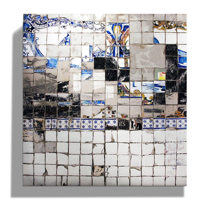 Manuela Pimentel    Pouca Terra , Pouca TUA.2018  Póster y acrílico sobre azulejo en lienzo.  215 x 100 cm + 215 x 100 cm.