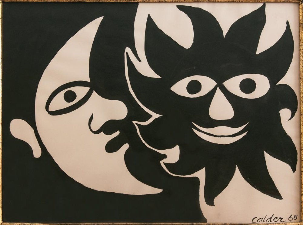 Black sun, White moon, 1968 Ink and gouache on paper 57,9 x 76,2 cm  SOLD