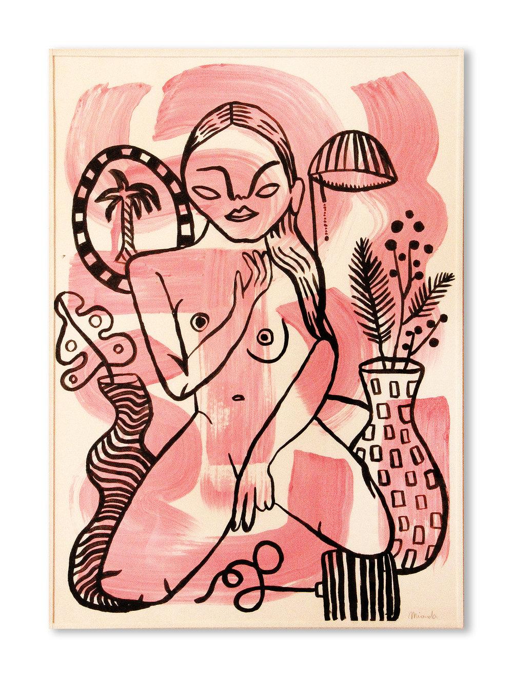 Chica home alone   Acrilico sobre papel 45,4 x 32,8 cm
