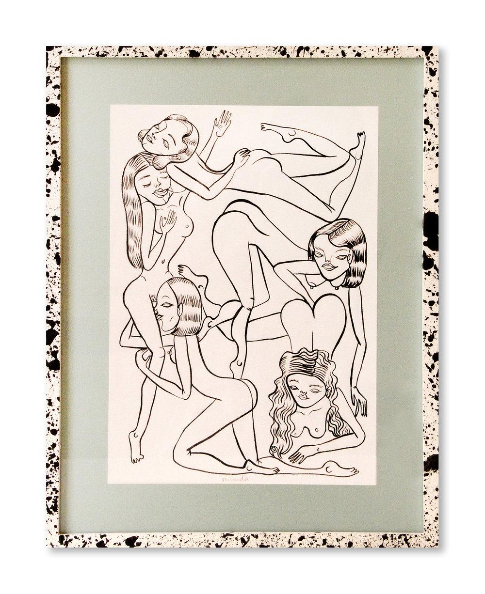 Adelaida y sus amigas   Tinta negra sobre papel 40 x 31,40 cm