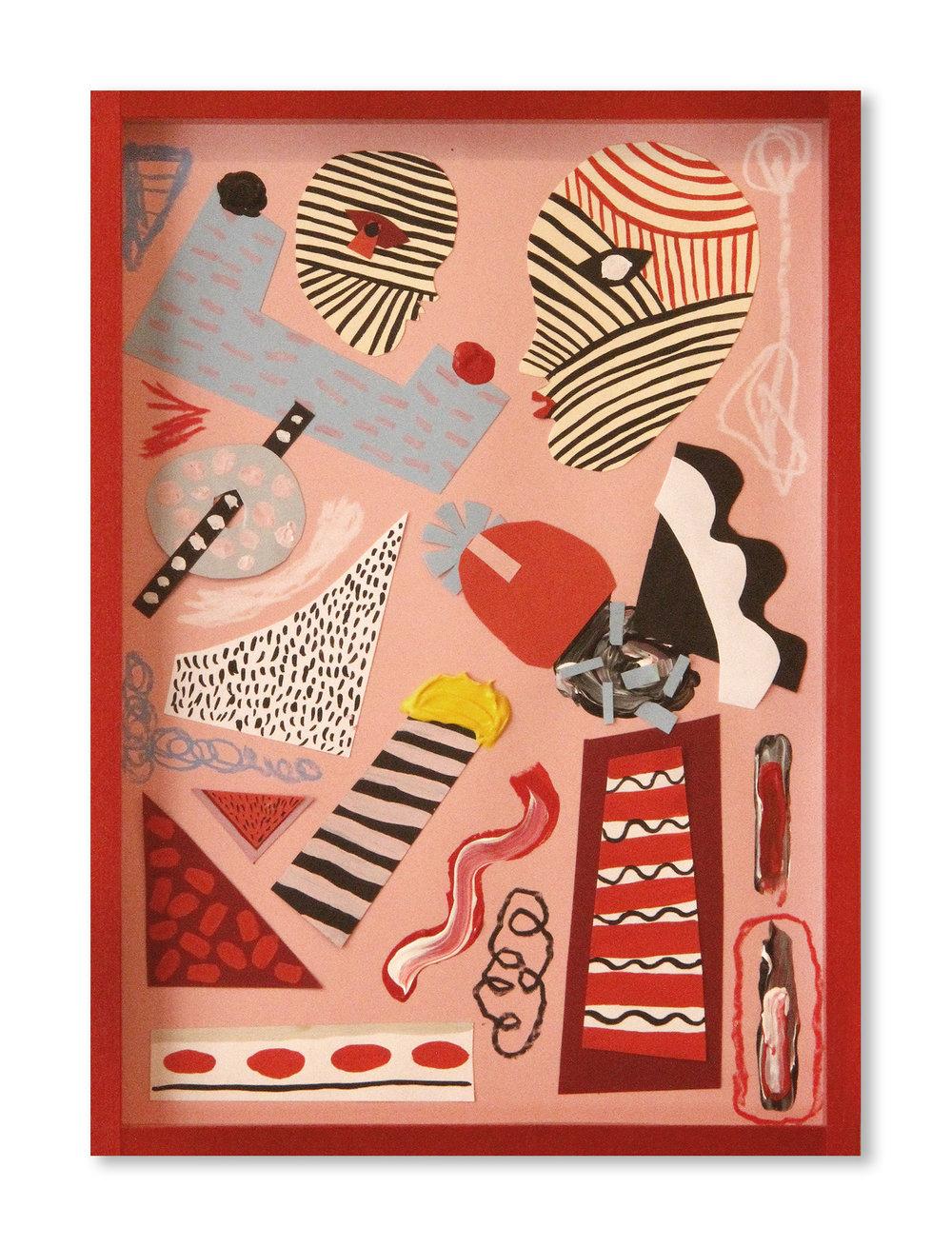 Girl and garçon   Acrílico y collage sobre papel  31,6 x 22,5 cm