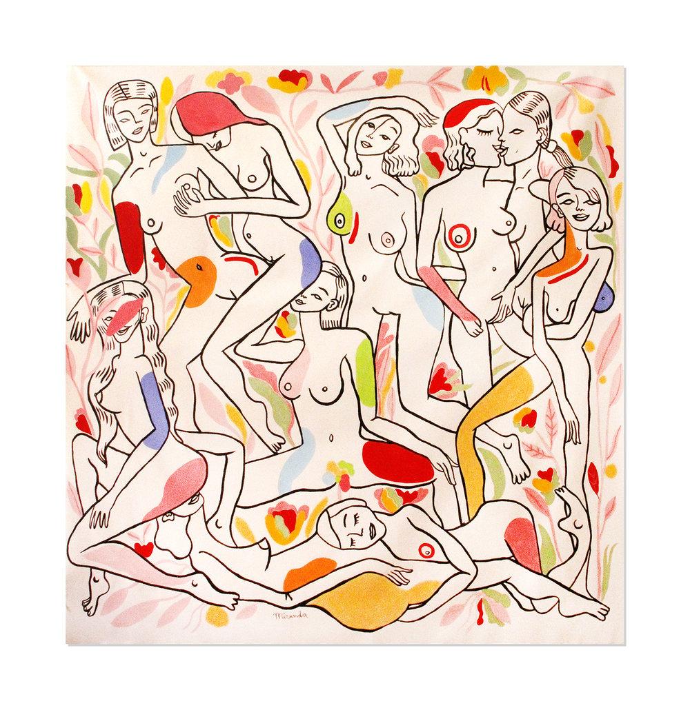 Le jardín des figues  Acrylic on wood 164, 5 x 164,5 cm