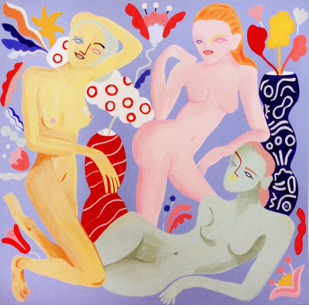 Les noies de l'Empordá   Acrilico sobre madera 128 x 122 cm