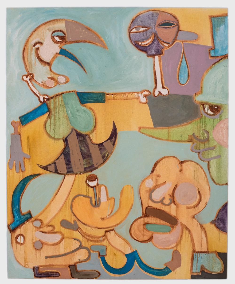 Tumor Puzzle (Upskirt Nasal Drip),   2018   Óleo sobre lienzo 184 x 147 cm