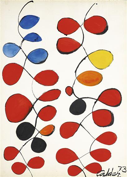 A Touch of Blue,    1973  Gouache y tinta sobre papel pegado en lienzo Firmado 'Calder 73' (esquina derecha) 78,7 x 57,8 cm
