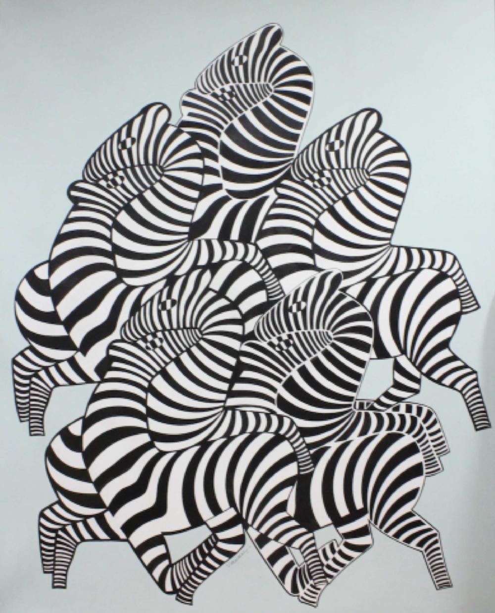 Multi-zèbres  , 1980  -  144 x 116 cm   SOLD