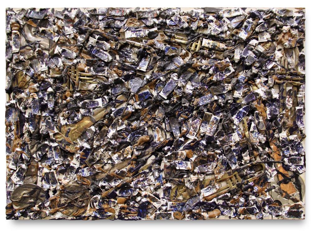 Hidden Brass    Mixed media over canvas on panel  107,5 x 153,5 x 6 cm.