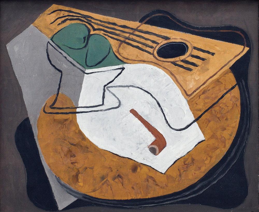 Guitare et Compotier  , 1927  Oil on canvas  46 x 55 cm