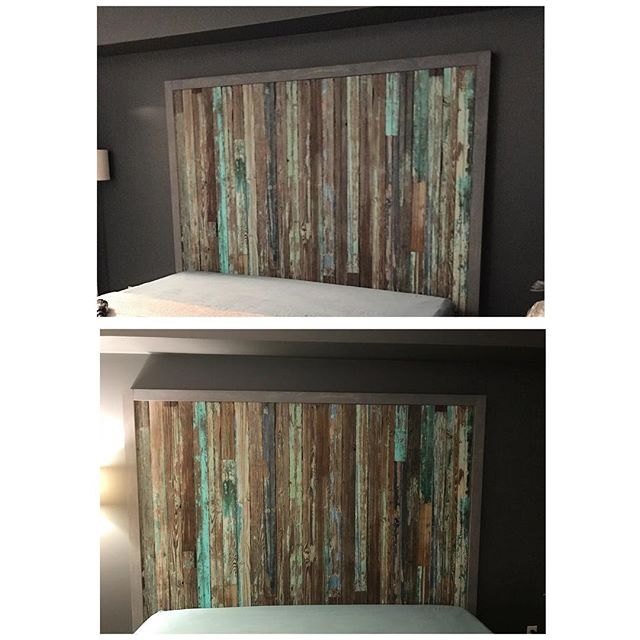 Reclaimed 1930's bead board from a North Carolina barn turned into a STUNNING modern headboard!  Created and designed by @naturaledgetableco We can create the headboard of your dreams! Contact us today! #rusticdecor #rustic #reclaimedwood #barnwood #headboard #bedroomgoals #designgoals #interiordesign #moderninteriordesign #beadboard #wood #customheadboard #customfurniture #modern #gorgeous #unique #character