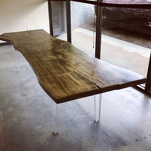 """Natural edge slab 12 person""""floating"""" conference table"""