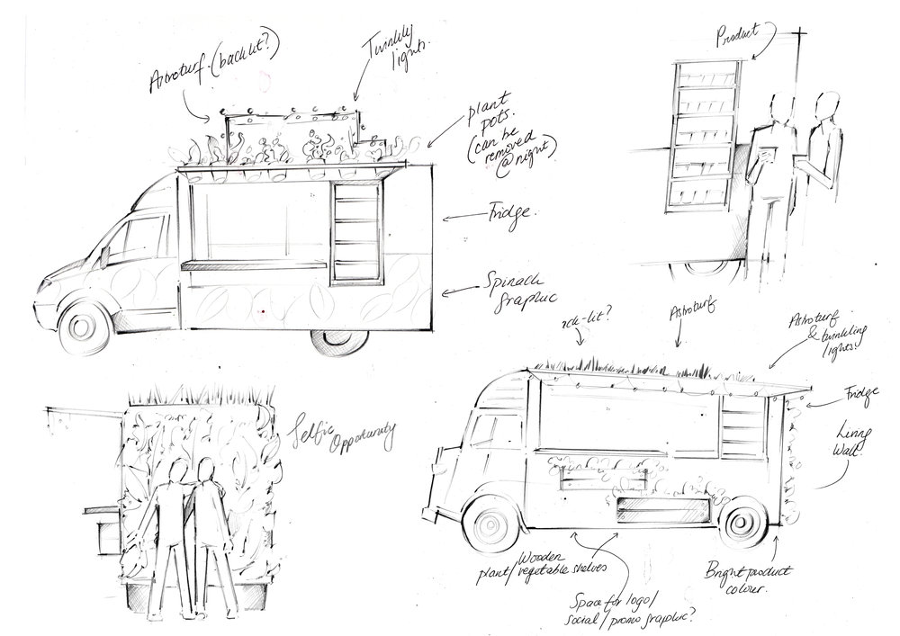Concept Sketches for a food truck for a health and wellness company during a re-brand.
