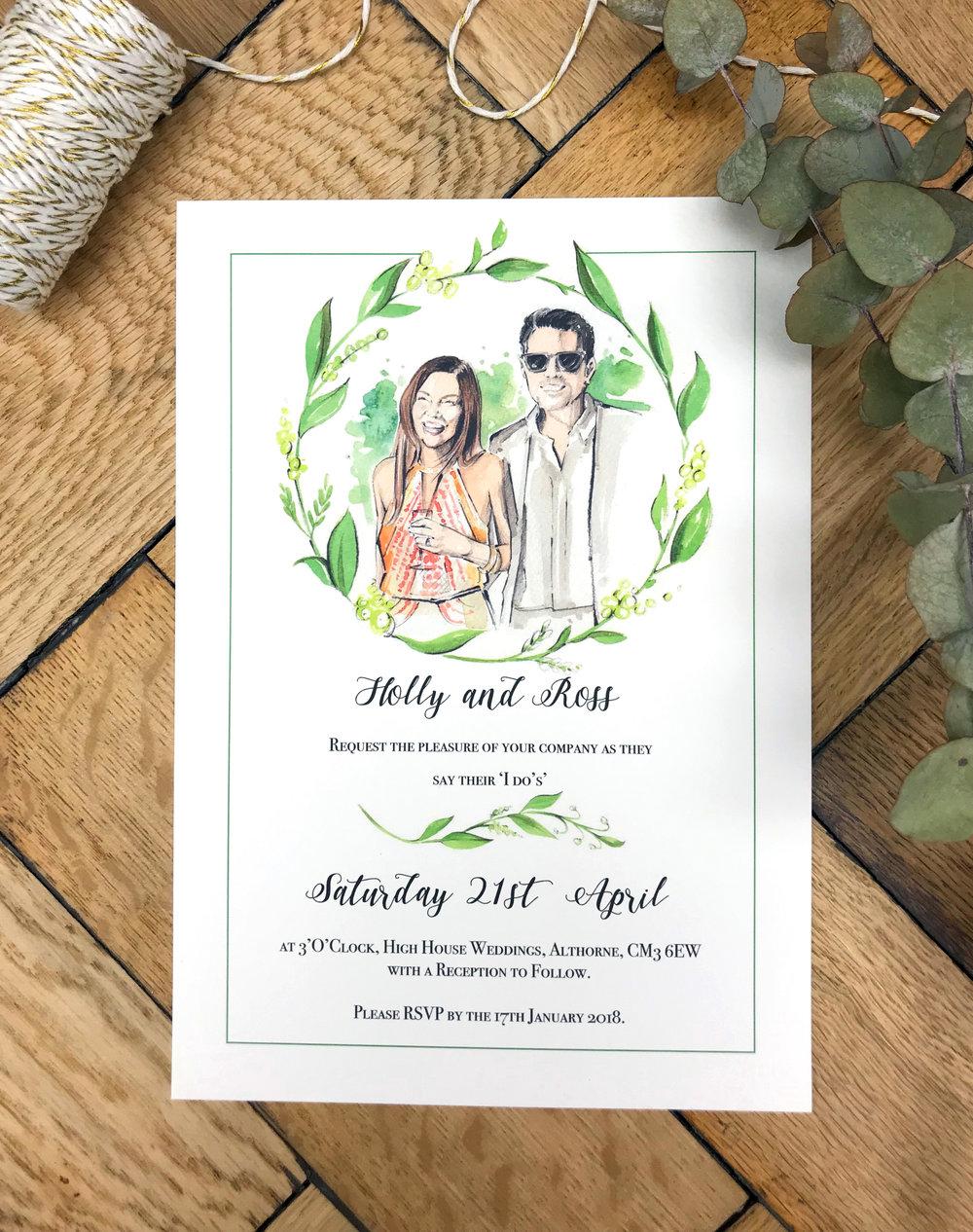 Watercolor Portrait Wedding Invitation   Watercolor Illustrated Wedding  Invitation   Hand Painted Wedding Invite