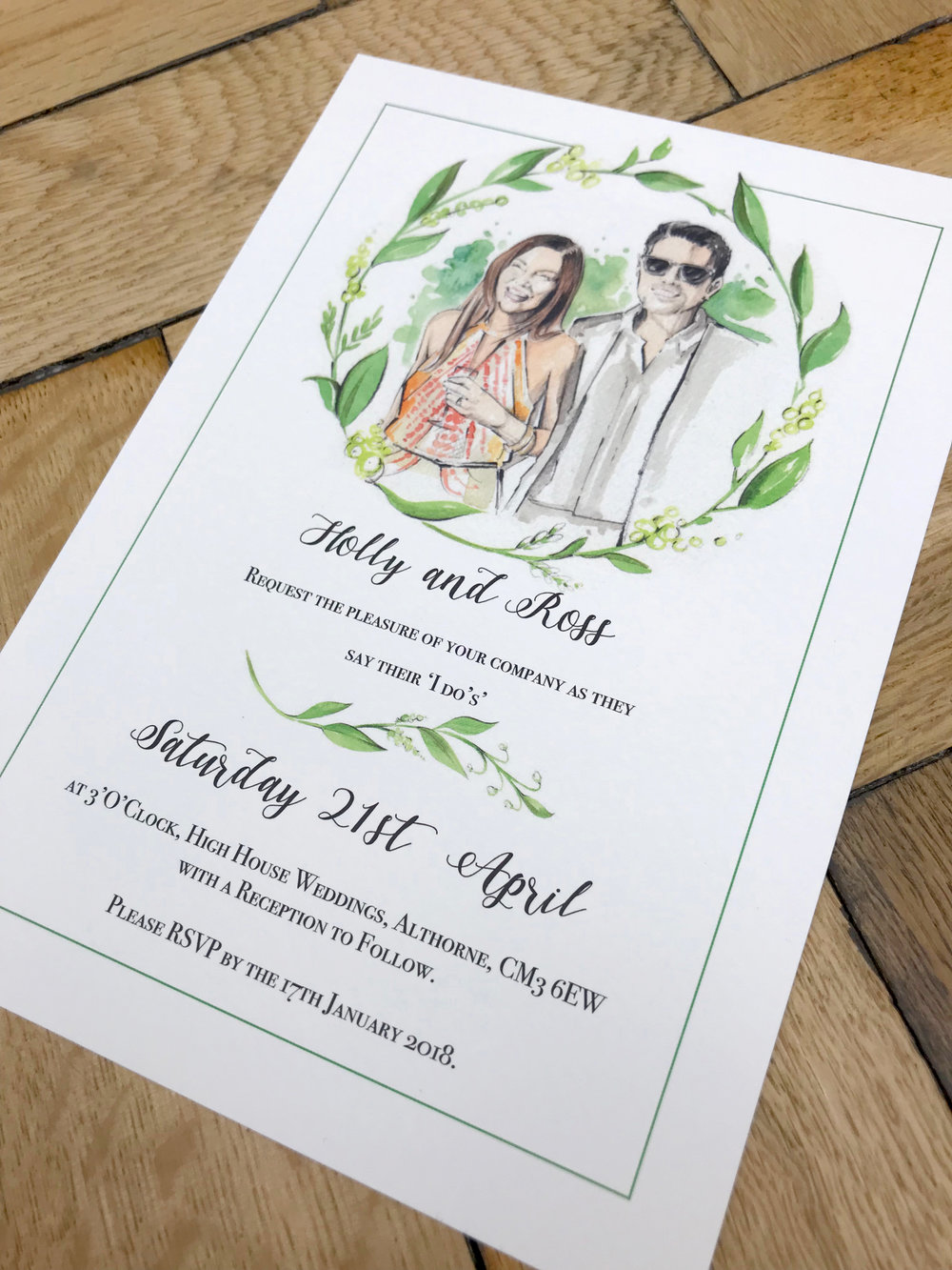 Watercolor Portrait Wedding Invitation - Watercolor Illustrated ...