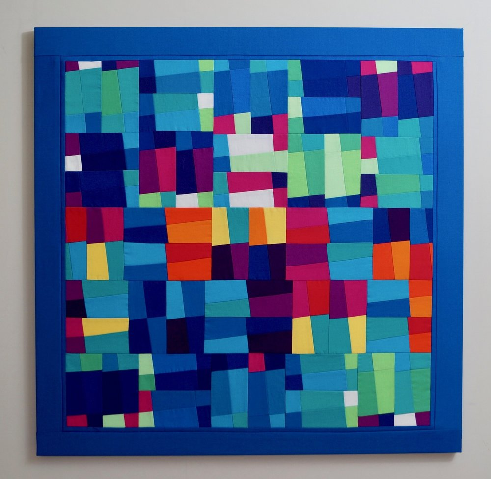 Sequence: 1 - 75cm square2018* 100% cotton fabric* 100% cotton batting* calico backing* tie quilted* stretched on a canvas stretcher* split batten wall fastening* signed and dated on reverse £1463
